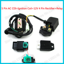 5 Pin AC CDI Ignition Coil Starter Solenoid Relay 12v 4 Pin Rectifier Regulator For Meerkat 50cc Falcon 90cc ATV Quad