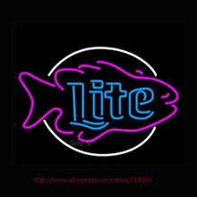 miller Lite Fish Neon Sign Handcrafted Neon Bulbs Real Glass Tube Personalized Custom Design Store Display Shopping Sign 19x15
