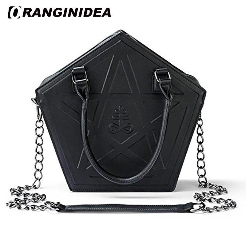 2018 Pentagram Handbags Women Punk Darkness Gothic Five Star Shoulder Bags Girl Black PU Messenger Bag Chain Crossbody Bag<br>