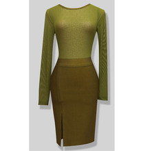 Style Number L645 olive green long sleeve bandage dress