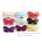 Free Shipping New Arrival Mixed Color PU Leather And Sequin Material Hair Clips For 8mm Bands