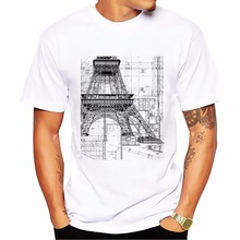 teehub brand Classic white T-shirt fitness tshirt men short sleeve Engineering drawings of Eiffel Tower or Church t shirt homme