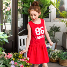 2017 Summer Girls Active Dress Numbers Print Kids Sports Style Dresses Red Clothes School Cute Age 5 6 7 8 9 10T Years Old Girl(China)