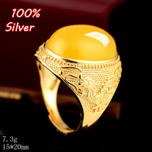 100% 925 Pure Steling silver Man's Ring Blank plated gold with wax turquoise stone for 15*20mm(China)