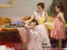 Famous Pino Daeni oil painting Mother and chirldren portrait high-quality handpainted artwork on canvas pictures No frame