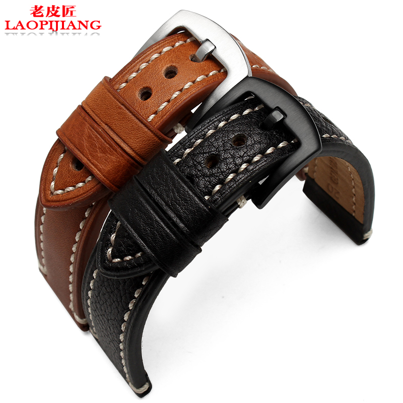 laopijiang General Leather Watchband head layer cowhide watch band of men and women with tack line 1820 22mm<br>