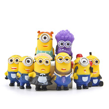 (8pcs/lot) Minion Miniature Figurines Toys Cute Lovely Model Kids Toys 5.5cm PVC Anime Children Figure 170720