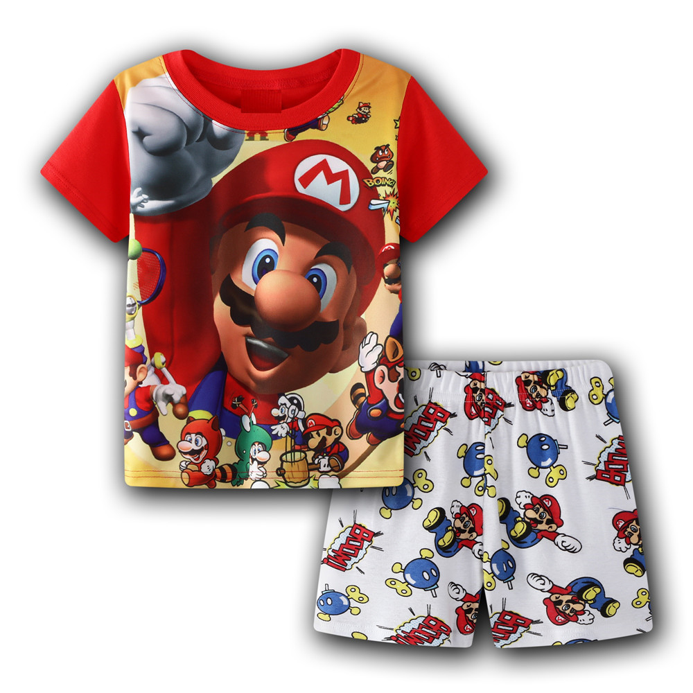 pants Suit Super Mario Bros Cartoon Kids boy/'s short-sleeved T-shirt Top Tee