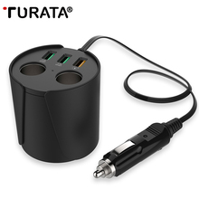 TURATA Quick Charge QC3.0 Car Charger 3-USB Ports 2-Socket Cigarette Lighter 12V/24V DC Cup Holder Power Adapter