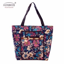 Aosbos New Arrival Foldable Shopping Bags Zipper Portable Prints Shopping Totes Bag Large Capacity Reusable Handbags for women