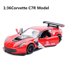High imitation Corvette C7R model toys, 1: 36 alloy pull back car model, metal castings 2 open doors, toy vehicles, wholesale