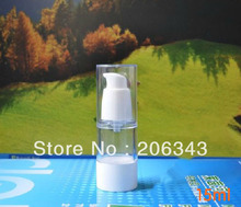 15ml  airless vacuum pump lotion bottle with white bird mouth shape pump/bottom / transparent lid  used for Cosmetic Container