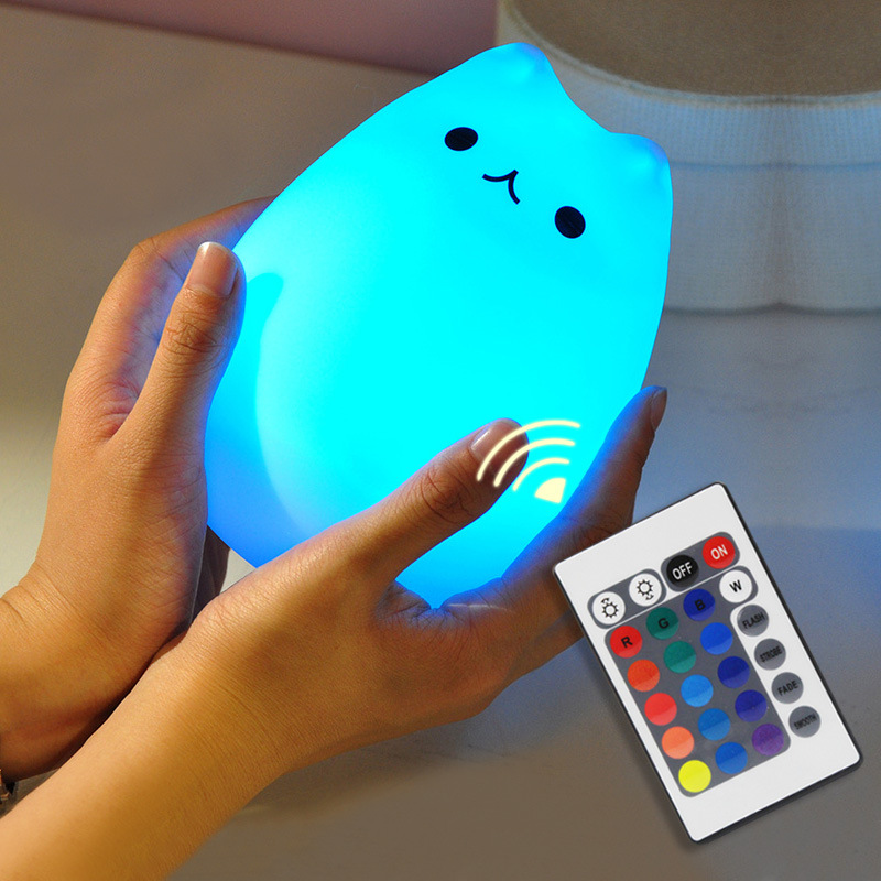 SuperNight Cute Cartoon Cat LED Night Light 7 Colors Silicone Rechargeable TapRemote Control Children Baby Bedside Table Lamp (23)