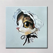 Hand-painted Abstract Animal Oil Painting on Canvas Modern Home Decor Wall Art Picture Handmade Funny Lady Kitty Cat Paintings(China)