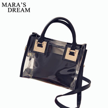 Mara's Dream Transparent Tote Bag Women's Handbag Crystal Large Beach Bags Candy Color Jelly Bags Girls Waterproof Shoulder Bag(China)