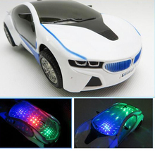 New 3D Flashing Electric Car toy with Lights, and Sound ,goes around and changes directions on contact (Battery Powered)