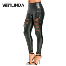 VESTLINDA Fishnet Insert Lace Up PU Leather Pants Women Fashion Black Elastic Mid Waist Pencil Pants Trousers Ladies Clothing(China)