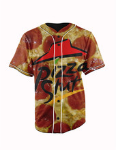 Real American Size  pizza slut 3D Sublimation Print Custom made Button up baseball jersey plus size