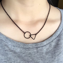 TrinketSea Black Cross Round Triangle Short Chain Pendant Clavicle Necklaces For Women Elegant Charm Free Ship Fashion Jewelry(China)
