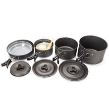Outdoor Camping Cooking Set 5-6 Persons use Non-stick Pots Aluminum Alloy Tableware Cookware Pans for Hiking Picnic DS500