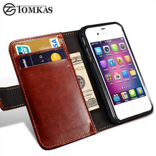 TOMKAS 4S Flip Wallet PU Leather Case For iPhone 4 4S Cover Vintage Luxury i Phone Bag For Apple iPhone 4S With Card Holders