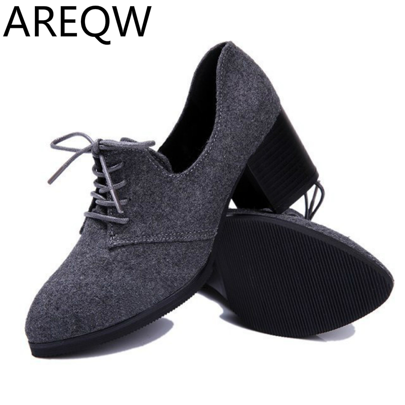 AREQW 2017 Autumn New High Heels South Korea Oxford White Small Shoes with Large Size Retro Women Wholesale<br><br>Aliexpress
