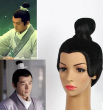 black ancient wig for man ancient chinese dynasty man hair black warrior cosplay wig studio photogragh halloween wig
