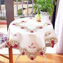 Elegant Rustic Hand Embroidered Tablecloth,Modern American Flowers Embroidered Table Covers,Brand Handmade Table Cloth(China)