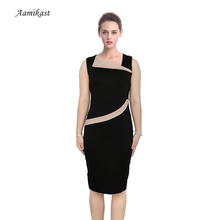 AAMIKAST New Top Fashion 2017 Women Patchwork Optical Illusion Slimming Stretch Bodycon Formal Pencil Dresses  Free Shipping