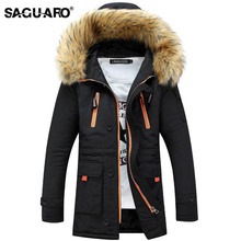 SAGUARO Winter Jacket Men 2017 Brand Casual Mens Jackets Coats Fashion Detachable Fur Hooded Collor Thick Parka Men Outwears
