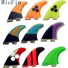 Free shipping Micfin FCS II Fins Blue Honeycomb Carbon Fin Surf Fins FCS2 Surfboard Fin pranchas de surf quilhas fcs 2 surfing(China)