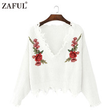 ZAFUL V Neck Frayed Floral Embroidery Knitted Sweaters Long Sleeve Winter Warm Pullovers Vintage Female Casual Tops pull femme(China)