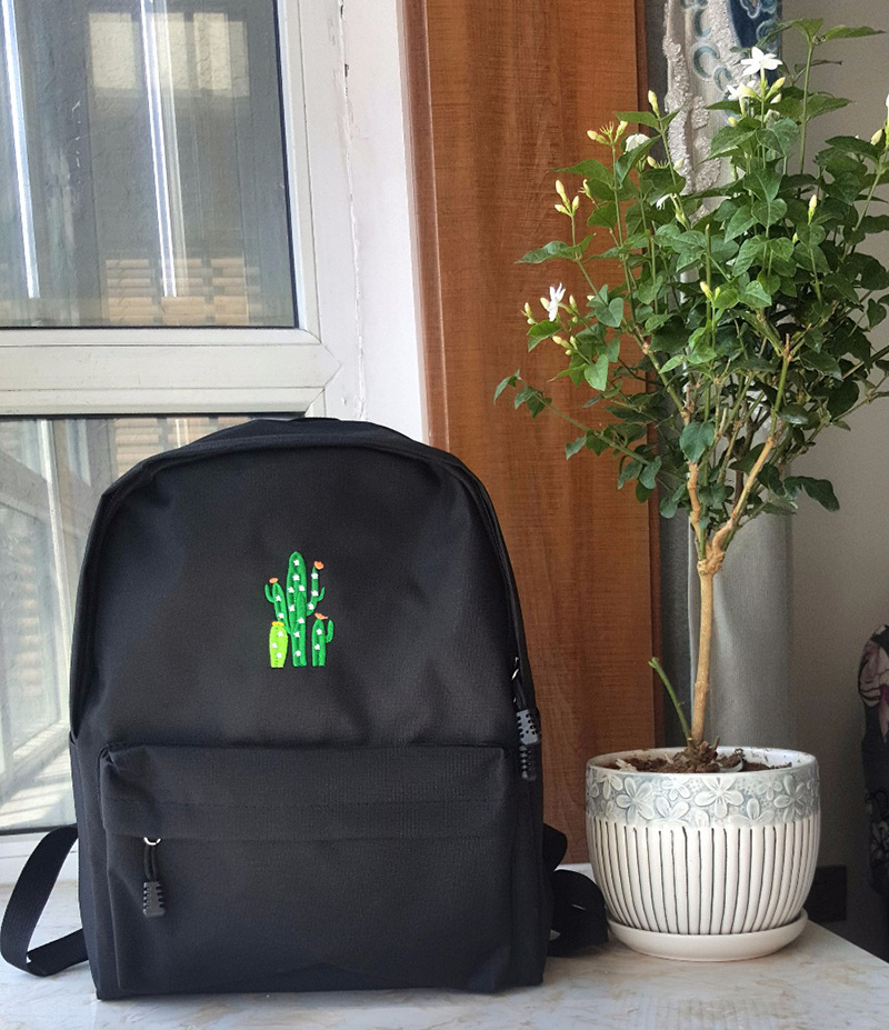canvas backpack school bag embroidery (7)