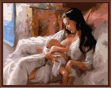 Frameless Pictures On Wall Acrylic Painting By Numbers Unique Gift DIY Digital Canvas Oil Painting Mom And Baby GX6402 40*50cm
