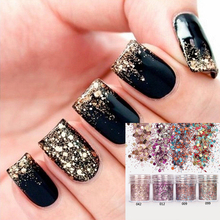beauty 1Box Pink Rose Colorful Nail Glitter Dust Fine Mix 3D Nail Sequins Acrylic Glitter Powder Large Nail Art Tips Decoration