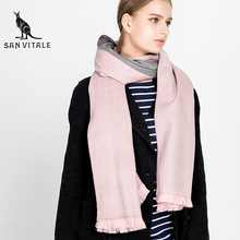 SAN VITALE 2017 New Women Scarf and Shawls Winter Warm Scarves Luxury Brand Soft Fashion Wraps Wool Cashmere Silk Hijab Bandana(China)