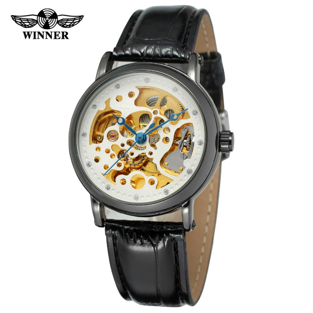 Fashion WINNER Men Brand See Through Skeleton Leather Strap Watch Mechanical Hand Wind Wristwatch Gift Box Relogio Releges 2016<br><br>Aliexpress