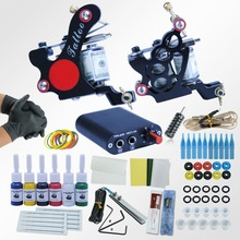 Professional Tattoo Kit Body Tattoo Art 2 Tatto Gun Machine with Grips Needles 6 Color Ink LCD Black Power Units Body Art Sets
