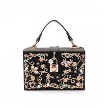 Luxury diamond carved hollow handbag retro Flowers lock box bag for ladies PU tote bags fashion women's small shoulder bag ST187(China)