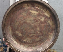 Chinese Royal Old Bronze Copper Round solar terms Fu Palace Art Dish Plate Tray(China)
