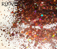50gram Holographic Laser Coffee Colors Glitter Mix Hexagon Paillette Spangle Powder Shape for Nail Art Glitter Craft Decoration