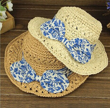 2016 New Man-made Fashion Sombrero Sun Hats for Women Chapeau Fille Enfant Women Straw Hat Flower Bowknot Women Cap Summer