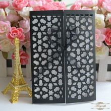 MR055 Black star elegant wedding gift birthday cards laser cut invitations