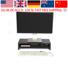 Wood Desktop Monitor Stand LCD TV Laptop Rack Computer Screen Riser Shelf Office Desk Monitor Stand Storage Box Case(China)