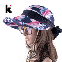 Women's Outdoors Foldable Anti-UV Wide Brim Sun Hat Chapeu Feminino Adjustable Summer Visor Beach Cap Girls With Neck Protection(China)