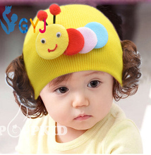 infant caps with hair wigs 3month to 3 years pink yellow blue knitted Caterpillar infant caps with wigs baby girls infant caps