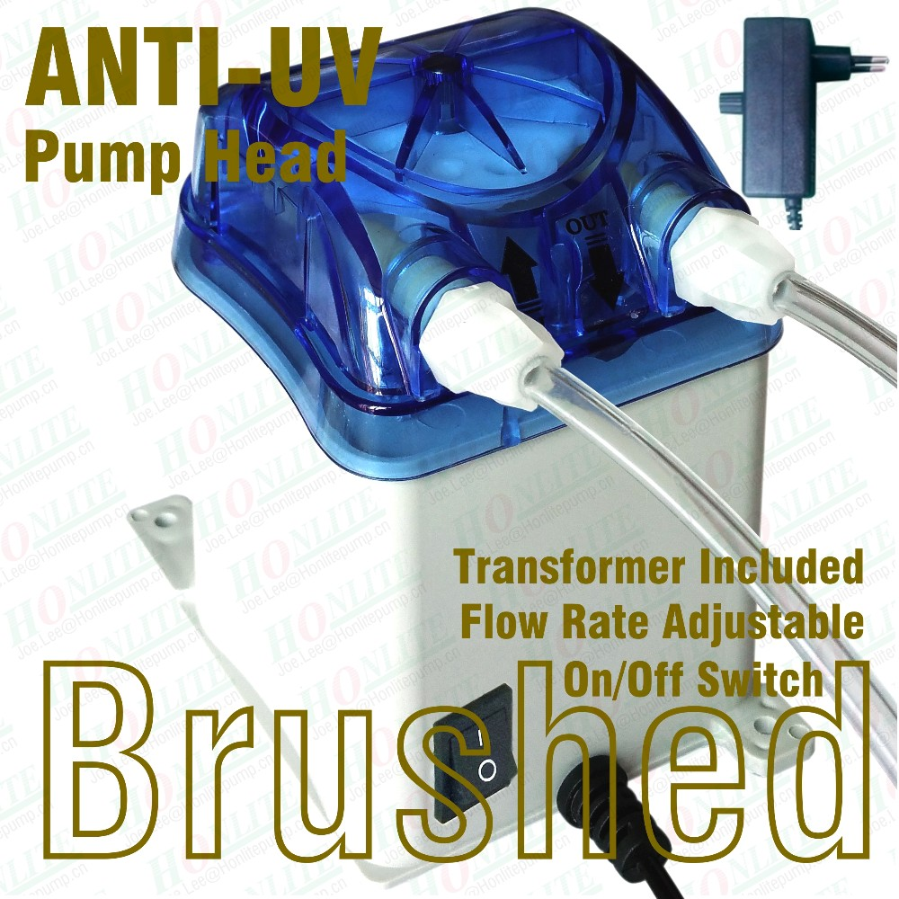 100~240Vac, 250ml/min Peristaltic Pump with transformer, ANTI-UV exchangable pump head and FDA approved PharMed BPT Peri-tube<br><br>Aliexpress