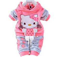 Baby Boys Girls Hello Kitty Clothing Sets Kids Velvet Suits Infant Tracksuits Sports Outerwear Cartoon Hoodies Pants 2pcs Sets(China)