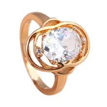Best Gift ! Top quality Fine gold tone White Crystal Zircon Ring Health Nickel & Lead free Fashion Jewelry USA size #8 JR2028A