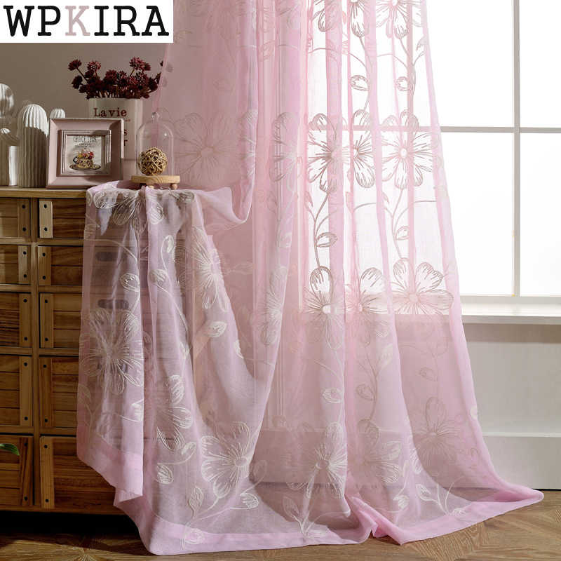 Sheer Window Flower Tulle Embroidered Curtains Tulle Living Room Voile Organza Bedroom Gauze Curtains Window Screening 003&20